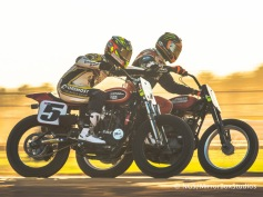 Austin, TX - June 3, 2015 - Downtown: Brad Baker and Jake Johnson during practice for Harley Davidson Flat-Track Racing at X Games Austin 2015. (Photo by Nick Guise-Smith / ESPN Images)
