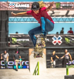 Austin, TX - June 4, 2015 - Downtown: Leticia Butoni during practice for Skateboard Street Women's at X Games Austin 2015. (Photo by Nick Guise-Smith / ESPN Images)