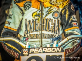 Austin, TX - June 4, 2015 - Downtown: Harley Davidson Jacket in Harley Davidson Flat-Track Racing Final during X Games Austin 2015. (Photo by Nick Guise-Smith / ESPN Images)