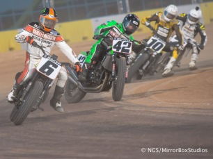Austin, TX - June 4, 2015 - Downtown: Riders competing in Harley Davidson Flat-Track Racing Final during X Games Austin 2015. (Photo by Nick Guise-Smith / ESPN Images)