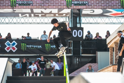 Austin, TX - June 6, 2015 - Downtown: Enzo Cautela during practice for Skateboard Street Amateurs at X Games Austin 2015. (Photo by Nick Guise-Smith / ESPN Images)