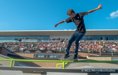 Austin, TX - June 6, 2015 - Circuit of The Americas: Tyson Bowerbank competing in Skateboard Street Amateurs Final during X Games Austin 2015. (Photo by XXXXX / ESPN Images)