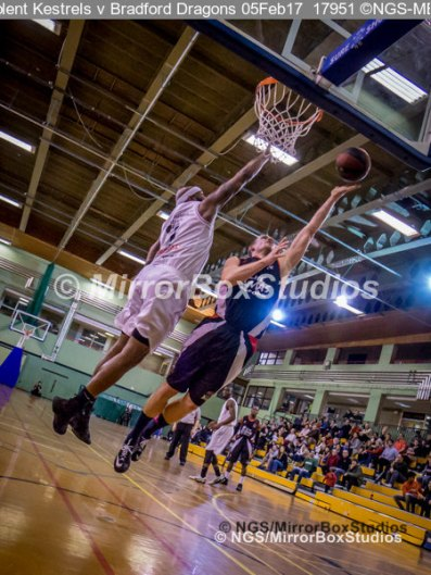 Solent Kestrels NBL Division 1 - 5 February, 2017 - Fleming Park Leisure Cent. : Marquis Mathis (7) defending during match against Bradford Dragons (Photo by NGS/MirrorBoxStudios)
