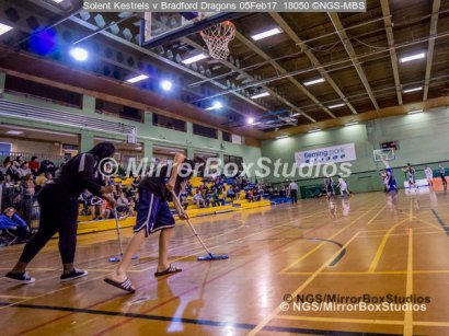 Solent Kestrels NBL Division 1 - 5 February, 2017 - Fleming Park Leisure Cent. : VITAL floor cleaning during match against Bradford Dragons (Photo by NGS/MirrorBoxStudios)