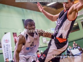 """Solent Kestrels NBL Division 1 - 5 February, 2017 - Fleming Park Leisure Cent. : Stephen Danso (11) called for a """"charging foul"""" during match against Bradford Dragons (Photo by NGS/MirrorBoxStudios)"""