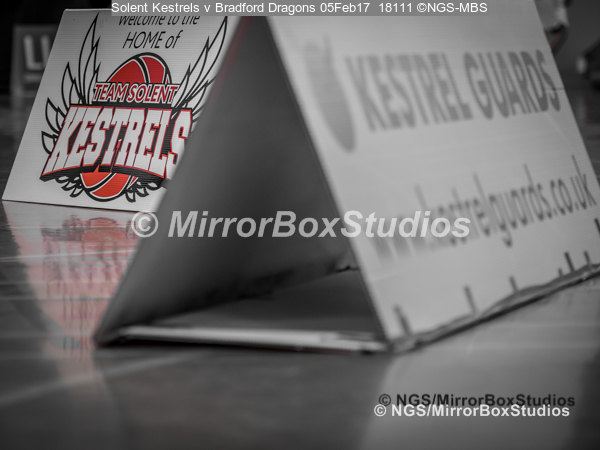 Solent Kestrels NBL Division 1 - 5 February, 2017 - Fleming Park Leisure Cent. : Signs & Sponsors during match against Bradford Dragons (Photo by NGS/MirrorBoxStudios)