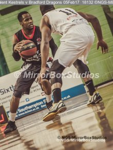 Solent Kestrels NBL Division 1 - 5 February, 2017 - Fleming Park Leisure Cent. : Stephen Danso (11) defending during match against Bradford Dragons (Photo by NGS/MirrorBoxStudios)