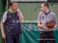 Solent Kestrels NBL Division 1 - 5 February, 2017 - Fleming Park Leisure Cent. : Bradford Dragons Coach, Chris Mellor chatting to the ref. (Photo by NGS/MirrorBoxStudios)