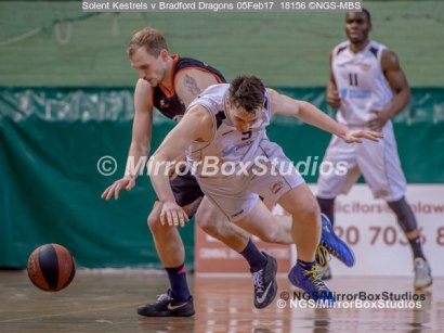 Solent Kestrels NBL Division 1 - 5 February, 2017 - Fleming Park Leisure Cent. : Louie Kirkman (5) pushed in the back and about to hit the floor during match against Bradford Dragons (Photo by NGS/MirrorBoxStudios)