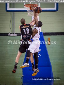"""Solent Kestrels NBL Division 1 - 5 February, 2017 - Fleming Park Leisure Cent. : Stephen Danso (11) called for a """"foul"""" during match against Bradford Dragons (Photo by NGS/MirrorBoxStudios)"""