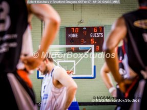 Solent Kestrels NBL Division 1 - 5 February, 2017 - Fleming Park Leisure Cent. : Just under 4 minutes to go and Kestrels take the lead during match against Bradford Dragons (Photo by NGS/MirrorBoxStudios)