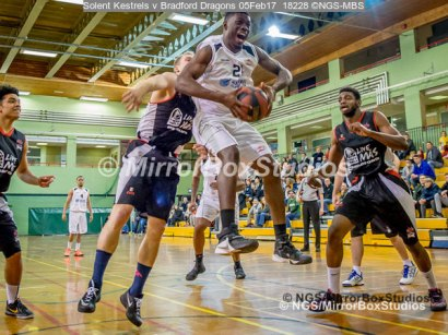 Solent Kestrels NBL Division 1 - 5 February, 2017 - Fleming Park Leisure Cent. : Jaylen Watson (21) collects the rebound during match against Bradford Dragons (Photo by NGS/MirrorBoxStudios)