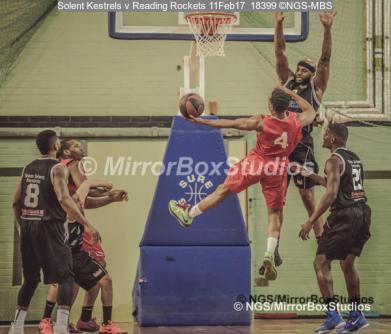 England Basketball, NBL Division 1 - 11 February, 2017 - Fleming Park Leisure Cent. : Marquis Mathis defending Craig Ponder (4) during match between Solent Kestrels and Reading Rockets (Photo by NGS/MirrorBoxStudios)
