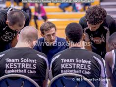 England Basketball, NBL Division 1 - 11 February, 2017 - Fleming Park Leisure Cent. : Matt Guymon Team Talk during match between Solent Kestrels and Reading Rockets (Photo by NGS/MirrorBoxStudios)