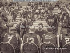 England Basketball, NBL Division 1 - 11 February, 2017 - Fleming Park Leisure Cent. : Solent Kestrels Team Talk during match between Solent Kestrels and Reading Rockets (Photo by NGS/MirrorBoxStudios)