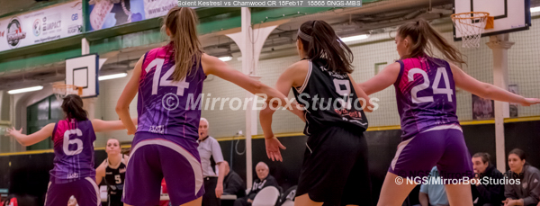 WNBL Division 1 - 18 February, 2017 - St Marys Leisure Cent. : Andrea Kurkowsk (9) double marked during match between Solent Kestrels Women and Charnwood CR (Photo by NGS/MirrorBoxStudios)