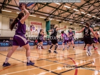 WNBL Division 1 - 18 February, 2017 - St Marys Leisure Cent. : Chloe Compton (9) maybe had on foot on the line, during match between Solent Kestrels Women and Charnwood CR (Photo by NGS/MirrorBoxStudios)