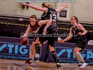 WNBL Division 1 - 18 February, 2017 - St Marys Leisure Cent. : Stevie Ellis (13) big defense during match between Solent Kestrels Women and Charnwood CR (Photo by NGS/MirrorBoxStudios)