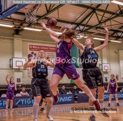 WNBL Division 1 - 18 February, 2017 - St Marys Leisure Cent. : E Maidman (8) drives to the basket during match between Solent Kestrels Women and Charnwood CR (Photo by NGS/MirrorBoxStudios)