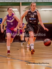 WNBL Division 1 - 18 February, 2017 - St Marys Leisure Cent. : Mel Curson (14) break away during match between Solent Kestrels Women and Charnwood CR (Photo by NGS/MirrorBoxStudios)