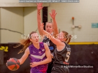 WNBL Division 1 - 18 February, 2017 - St Marys Leisure Cent. : Mel Curson (14) and Jodi Jerram (5) pressure defense during match between Solent Kestrels Women and Charnwood CR (Photo by NGS/MirrorBoxStudios)