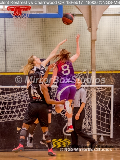 WNBL Division 1 - 18 February, 2017 - St Marys Leisure Cent. : E Maidman (8) during match between Solent Kestrels Women and Charnwood CR (Photo by NGS/MirrorBoxStudios)