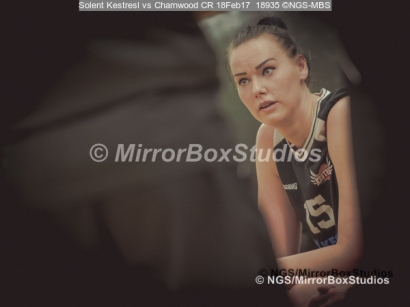 "WNBL Division 1 - 18 February, 2017 - St Marys Leisure Cent. : Inga Mucinlece (15) ""focus"" during match between Solent Kestrels Women and Charnwood CR (Photo by NGS/MirrorBoxStudios)"