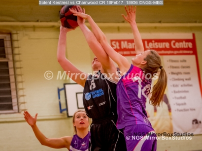 WNBL Division 1 - 18 February, 2017 - St Marys Leisure Cent. : A Forsyth (14) physical defense during match between Solent Kestrels Women and Charnwood CR (Photo by NGS/MirrorBoxStudios)