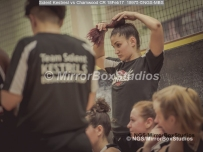 WNBL Division 1 - 18 February, 2017 - St Marys Leisure Cent. : Got to have your hair right during match between Solent Kestrels Women and Charnwood CR (Photo by NGS/MirrorBoxStudios)