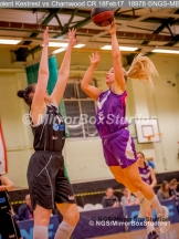WNBL Division 1 - 18 February, 2017 - St Marys Leisure Cent. : K McDavid (15) flying to the ring during match between Solent Kestrels Women and Charnwood CR (Photo by NGS/MirrorBoxStudios)