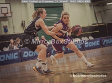 WNBL Division 1 - 18 February, 2017 - St Marys Leisure Cent. : Mel Curson (14) 1 on 1 with K McDavid (15) during match between Solent Kestrels Women and Charnwood CR (Photo by NGS/MirrorBoxStudios)