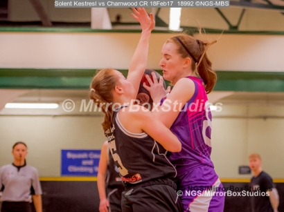 WNBL Division 1 - 18 February, 2017 - St Marys Leisure Cent. : Jodi Jerram (5) tight defense during match between Solent Kestrels Women and Charnwood CR (Photo by NGS/MirrorBoxStudios)