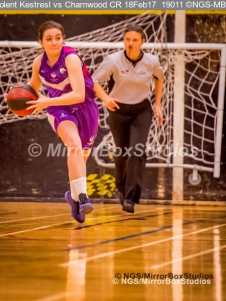 WNBL Division 1 - 18 February, 2017 - St Marys Leisure Cent. : Driving up court during match between Solent Kestrels Women and Charnwood CR (Photo by NGS/MirrorBoxStudios)