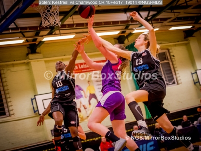 WNBL Division 1 - 18 February, 2017 - St Marys Leisure Cent. : Flying defense by Ekemini Essien (10) and Stevie Ellis (13) during match between Solent Kestrels Women and Charnwood CR (Photo by NGS/MirrorBoxStudios)