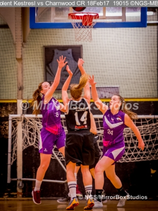 WNBL Division 1 - 18 February, 2017 - St Marys Leisure Cent. : That's 2 points for Solent and Mel Curson (14) during match between Solent Kestrels Women and Charnwood CR (Photo by NGS/MirrorBoxStudios)