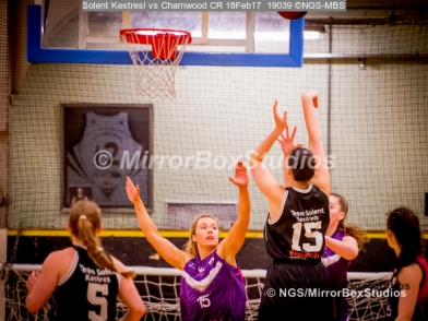 WNBL Division 1 - 18 February, 2017 - St Marys Leisure Cent. : Inga Mucinlece (15) with a long shot during match between Solent Kestrels Women and Charnwood CR (Photo by NGS/MirrorBoxStudios)