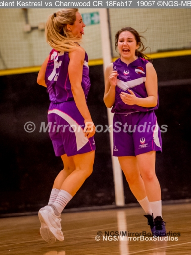 WNBL Division 1 - 18 February, 2017 - St Marys Leisure Cent. : Charnwood College Riders players celebrate a 3 point basket which took the game to extra time during match between Solent Kestrels Women and Charnwood CR (Photo by NGS/MirrorBoxStudios)