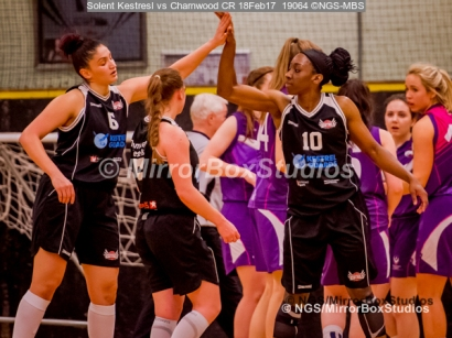 WNBL Division 1 - 18 February, 2017 - St Marys Leisure Cent. : Kalina Aexntieva (6) celebrates drawing 2 freethrows in extra time during match between Solent Kestrels Women and Charnwood CR (Photo by NGS/MirrorBoxStudios)