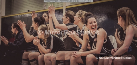 WNBL Division 1 - 18 February, 2017 - St Marys Leisure Cent. : Solent bench celebrate Kalina scoring her free throws in extra time during match between Solent Kestrels Women and Charnwood CR (Photo by NGS/MirrorBoxStudios)